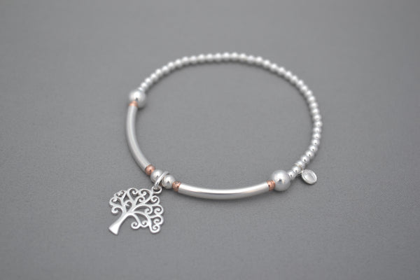 Limited Edition Tree of Life Sterling Silver half noodle and Rose Gold bead bracelet