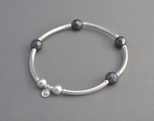 925 Sterling Silver Noodle and Hematite bead bracelet