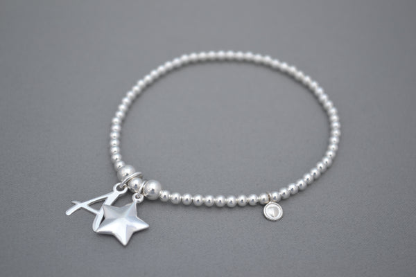 Sterling Silver 3mm bead bracelet with Sterling Silver initial and puff star charm