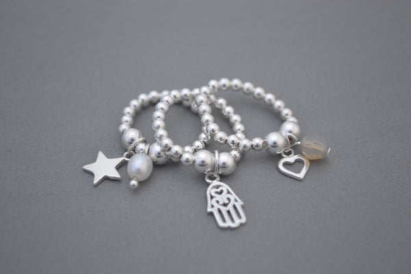 Sterling Silver mix bead ring with Sterling Silver Heart and Swarovski charm