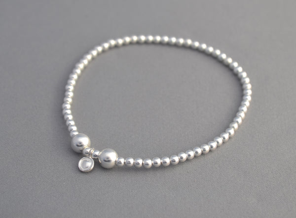 925 Sterling Silver handmade 3mm and 5mm bead bracelet