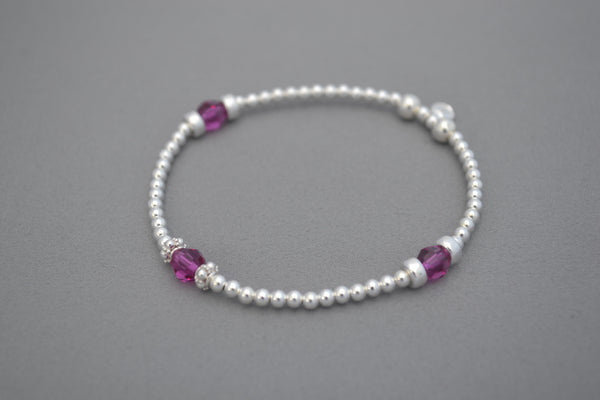 Pink Swarovski and Sterling Silver round disc bead bracelet