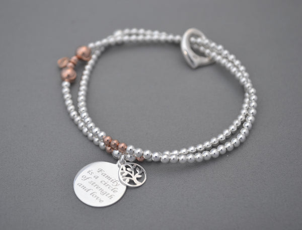 Limited edition Family Tree of Life Sterling Silver and Rose Gold double bracelet with elegant Sterling Silver open heart charm