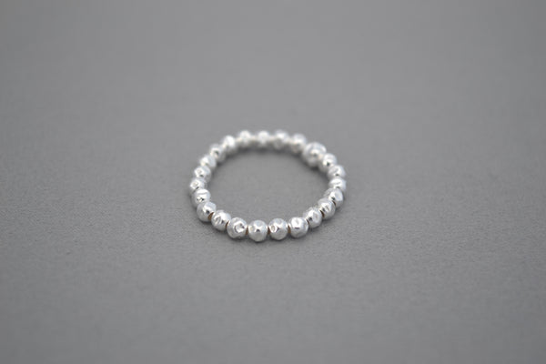 Sterling Silver hammered bead ring