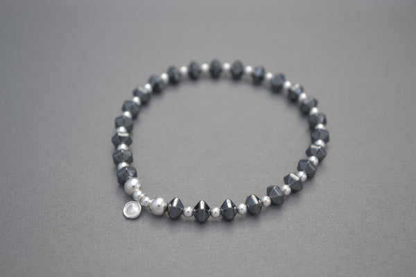 Hematite faceted and Sterling Silver mixed bead bracelet