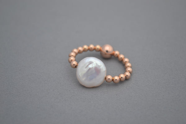 Rose gold bead and Freshwater pearl ring