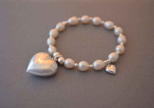 Sterling Silver bead and freshwater pearl bracelet with large puff heart charm