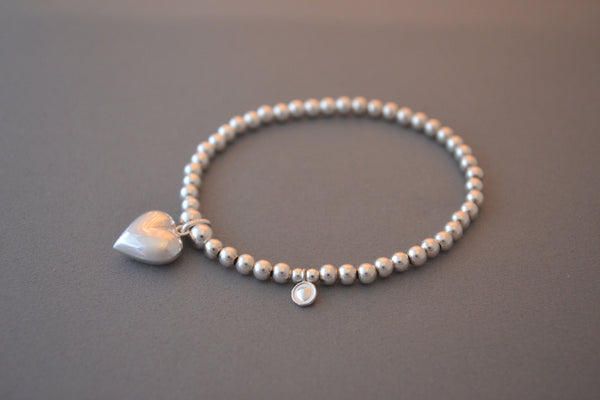 Sterling Silver ball bead bracelet with medium pretty puffed heart charm