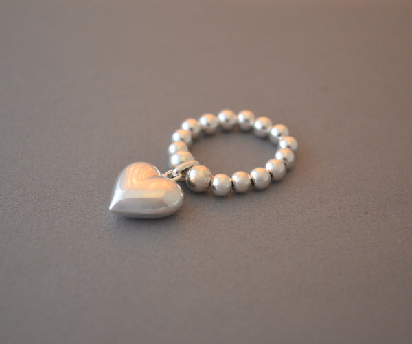 Sterling Silver bead ring with puffed heart charm