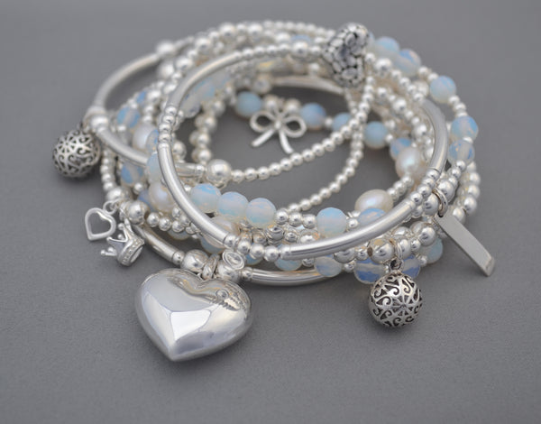 Sterling Silver noodle and bead bracelet with large puff heart charm