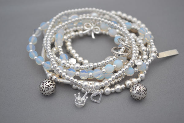Moonstone and Sterling Silver bead bracelet with pretty bow charm