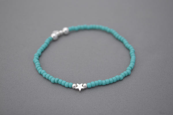 Turquoise seed and Sterling Silver bead bracelet with pretty sterling silver star charm