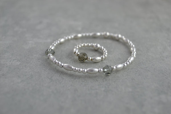 Sterling Silver rice and round bead bracelet / ring with elegant smoked Swarovski crystal