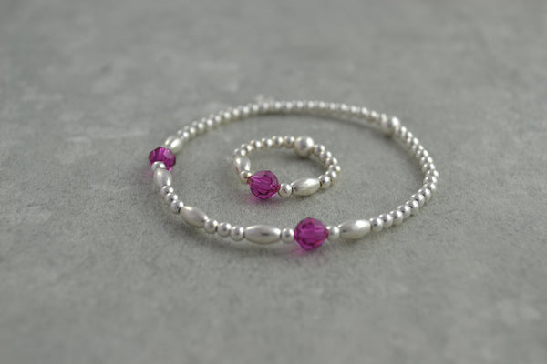 Sterling Silver rice and round bead bracelet / ring with elegant pink Swarovski crystal