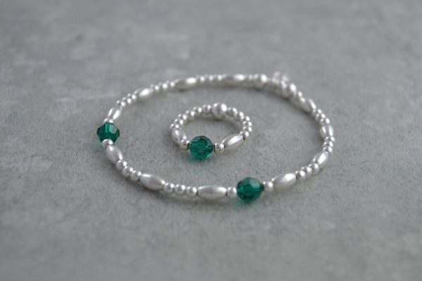 Sterling Silver rice and round bead bracelet / ring with elegant emerald Swarovski crystal