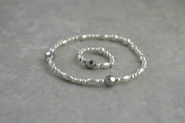 Sterling Silver rice and round bead bracelet / ring with elegant grey Swarovski crystal