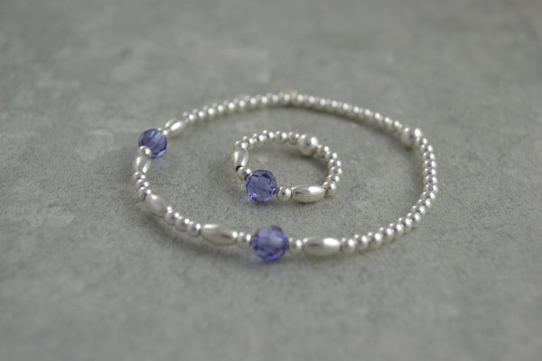 Sterling Silver rice and round bead bracelet / ring with elegant lilac Swarovski crystal