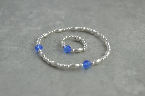 Sterling Silver rice and round bead bracelet / ring with elegant blue Swarovski crystal