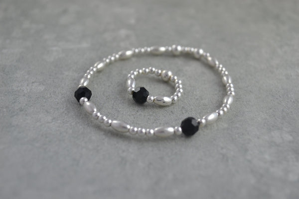 Sterling Silver rice and round bead bracelet / ring with elegant black Swarovski crystal