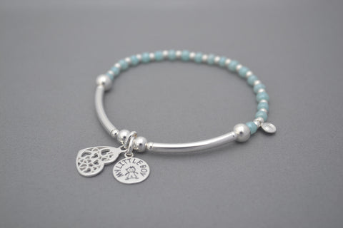 Sterling Silver noodle and bead bracelet with new Baby Boy / Baby Girl charm