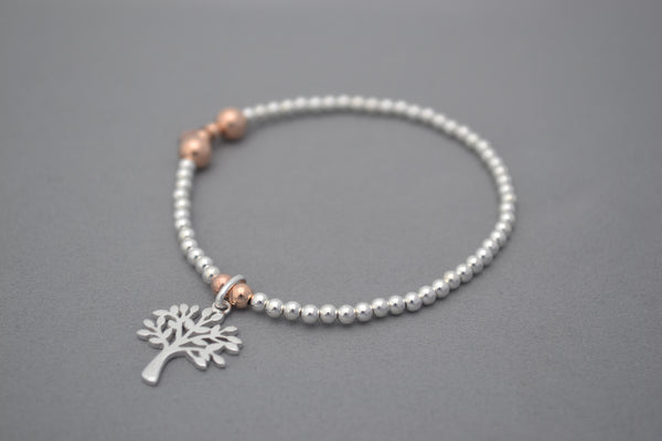 Limited Edition Tree of Life Rose Gold and Sterling Silver bead bracelet