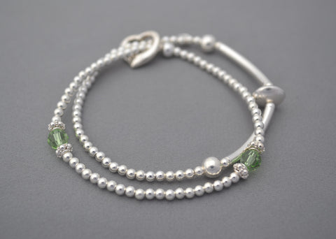 Sterling Silver double bracelet with handmade Sterling Silver ring charm and Birth month crystal