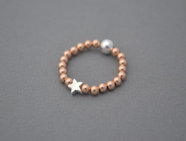 Rose Gold and Sterling Silver tiny star bead ring