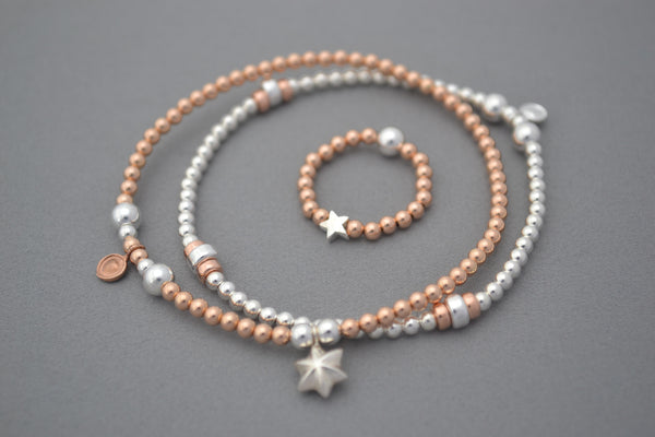 Sterling Silver ball and Rose Gold disc bead bracelet