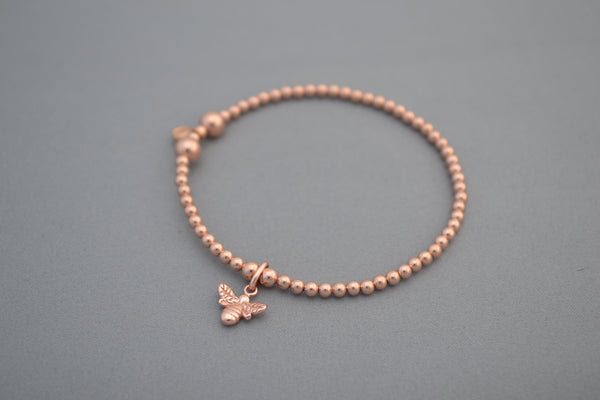 Rose Gold Manchester 'One Love' bead bracelet with Bee charm