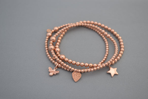 Rose Gold bead bracelet with dimpled heart charm
