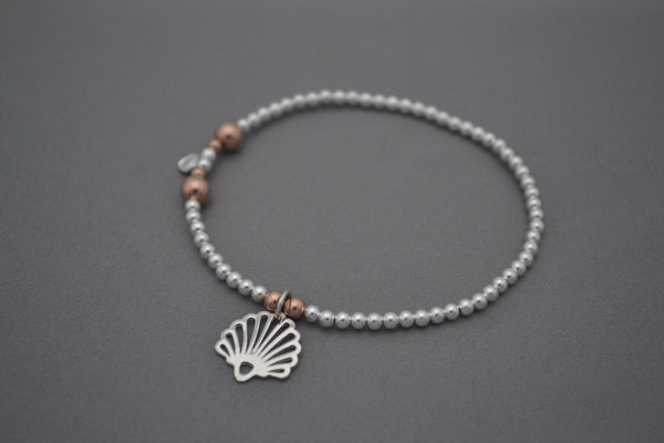 Sterling Silver and Rose Gold 3mm bead bracelet with Shell Fan charm