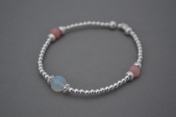 Fertility Sterling Silver disc and bead bracelet with Rose Quartz and Moonstone charms