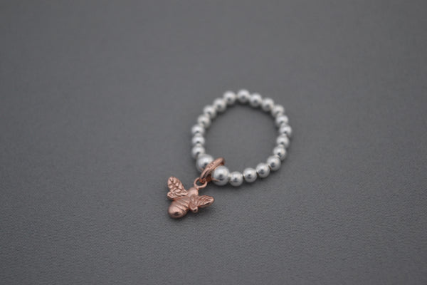 Sterling Silver mix bead ring with Rose Gold Bee charm
