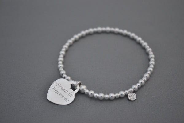 Sterling Silver 4mm mixed bead bracelet with Friends Forever charm