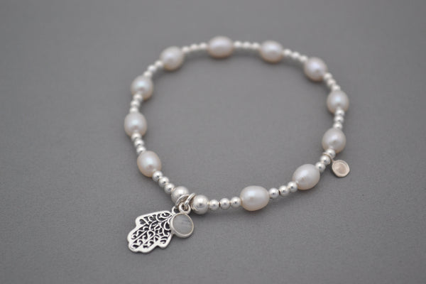 Freshwater Pearl and Sterling Silver mix bead bracelet with Hamsa Hand charm