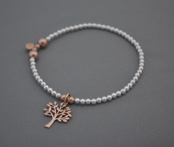 Sterling Silver and Rose Gold mixed bead bracelet with Rose Gold Tree of Life charm