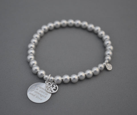 Limited Edition Sterling Silver large bracelet with Tree of Life and Family Circle charm