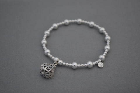 Sterling Silver 3mm and 6mm bead bracelet with ornate Bali charm