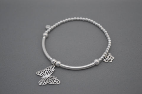 Sterling Silver 3mm and half noodle bead bracelet with pretty Butterfly charms