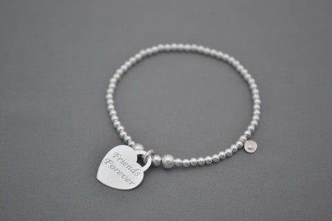 Sterling Silver mixed bead bracelet with Friends Forever charm