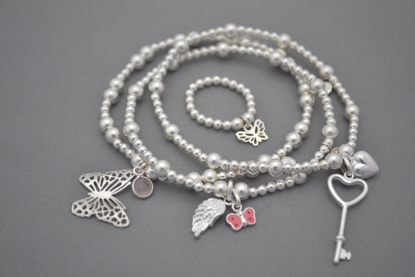 Sterling Silver 3mm and 5mm bead bracelet with Butterfly and Rose Quartz charm