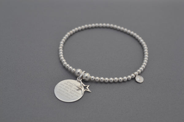 Sterling Silver bead bracelet with friend star charm