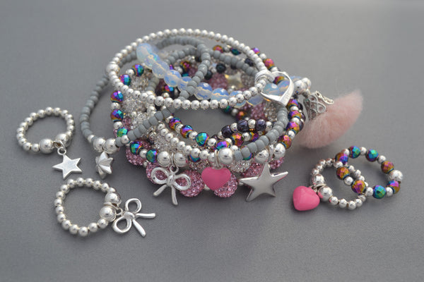 Sterling Silver Children's bracelet with handmade open heart ring charm