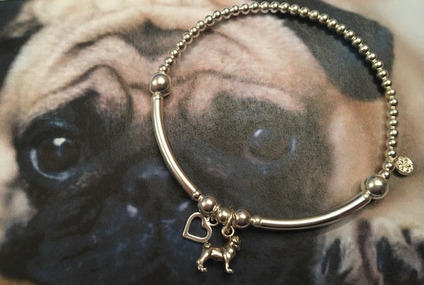 Bubblebecca Pug Rescue Limited Edition Sterling Silver Pug bracelet with Pug and Heart charms