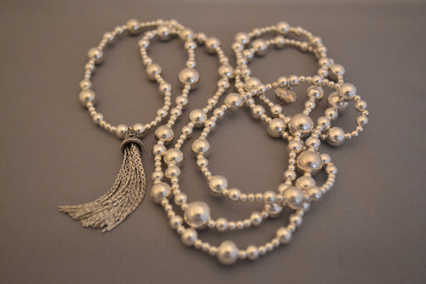 Sterling Silver mixed bead long necklace with Sterling Silver Bali Tassel charm