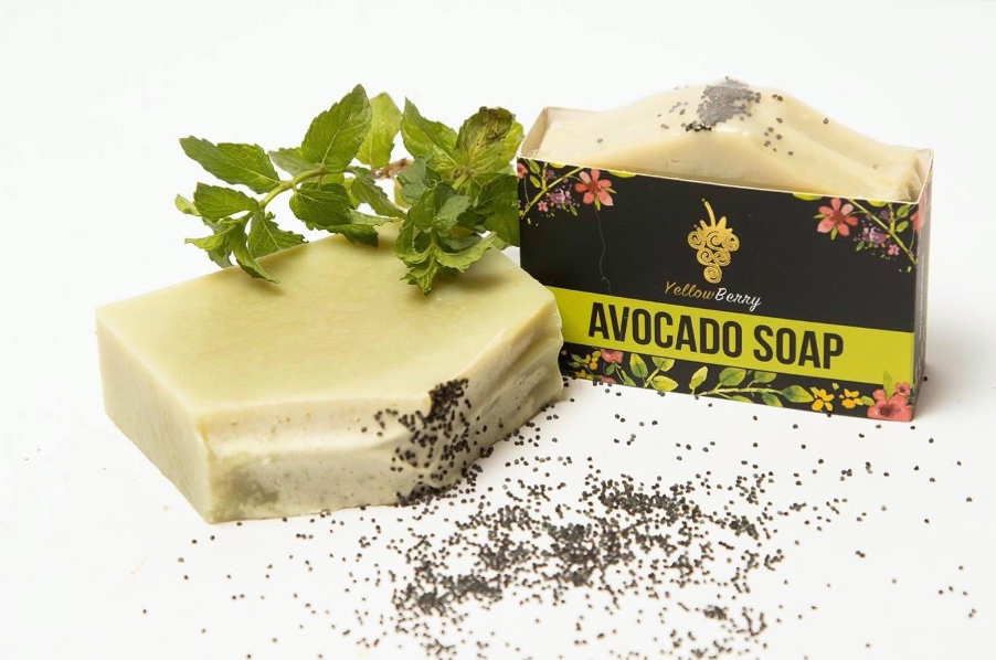 A textured bar of avocado hand made soap by YellowBerry