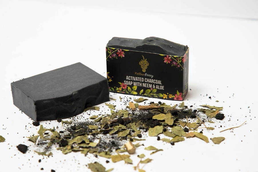 Textured activated charcoal soap with neem & aloe