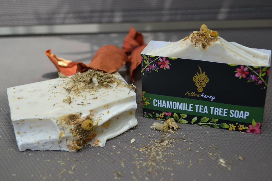 Textured chamomile tea tree soap by YellowBerry with a sprinkle of seeds