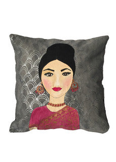 'Woman in pink sari' Cushion
