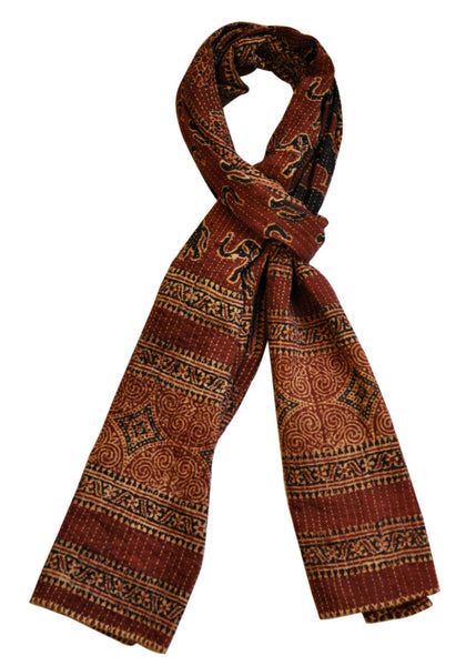 Hand-done Kantha Stitch Scarf - Reversible (Red)
